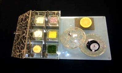 """amenity box"", ""box with sections"", ""caviar service"", ""caviar presentation"", ""serving caviar"", ""Glass Studio"", ""Westin Abu Dhabi"""
