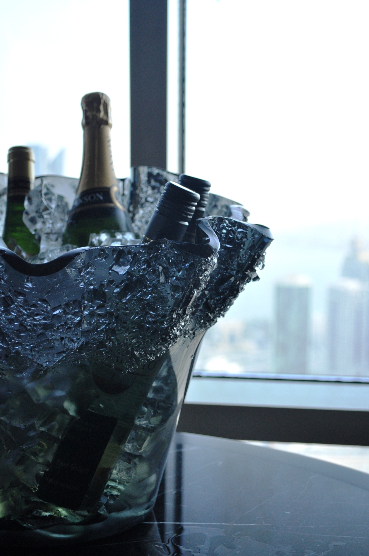 """wine bucket"", ""champagne bucket"", ""champagne holder"", ""ice bucket"", ""Glass Studio"", ""Strata"", ""InterContinental Doha City"""