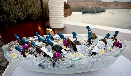 ice bucket, wine bucket, champagne bucket, glass ice bucket, glass ice bowl, champagne tub, wine cooler bowl, Glass Studio, Melenos Lindos Hotel