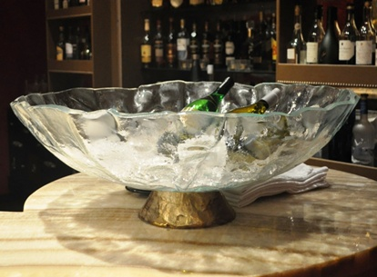 champagne bowl, champagne server, glass champagne bucket, ice and champagne tub, Glass Studio